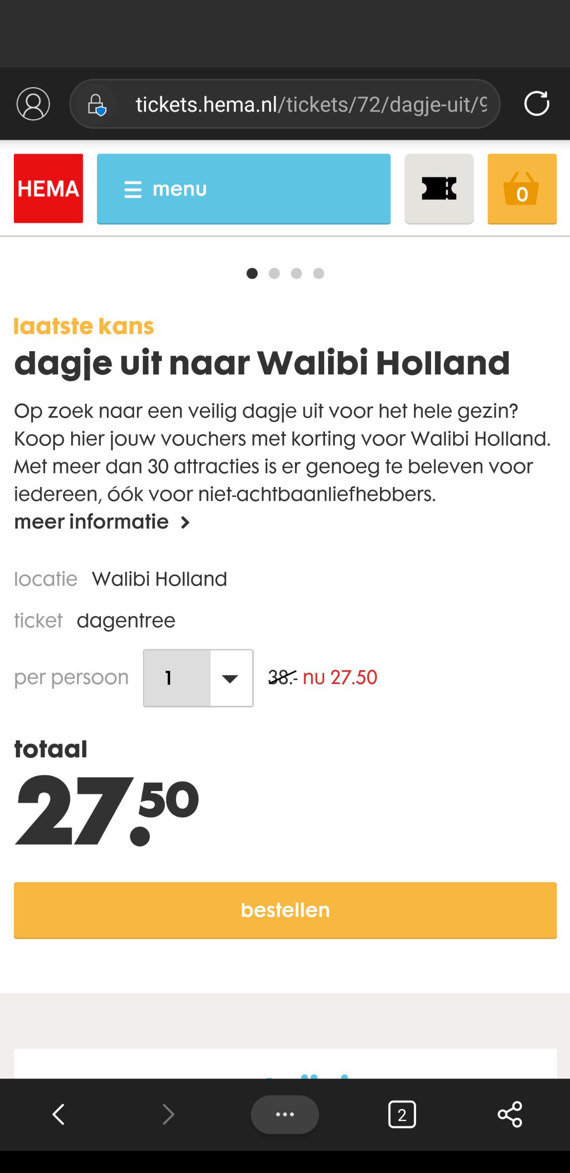 Voor de snelle beslissers Walibi HEMA tickets alleen vandaag nog korting