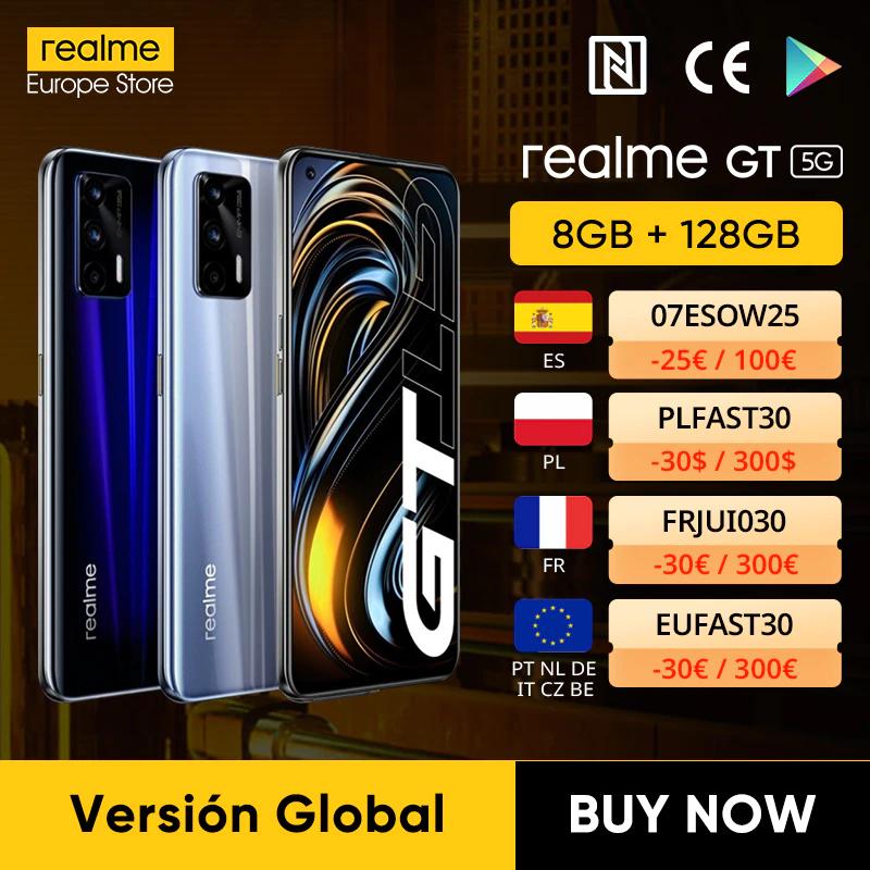 Realme GT 5G 8/128GB (SD888, 64+8+2MP, 65W, 4500mAh) - Zilver & Blauw