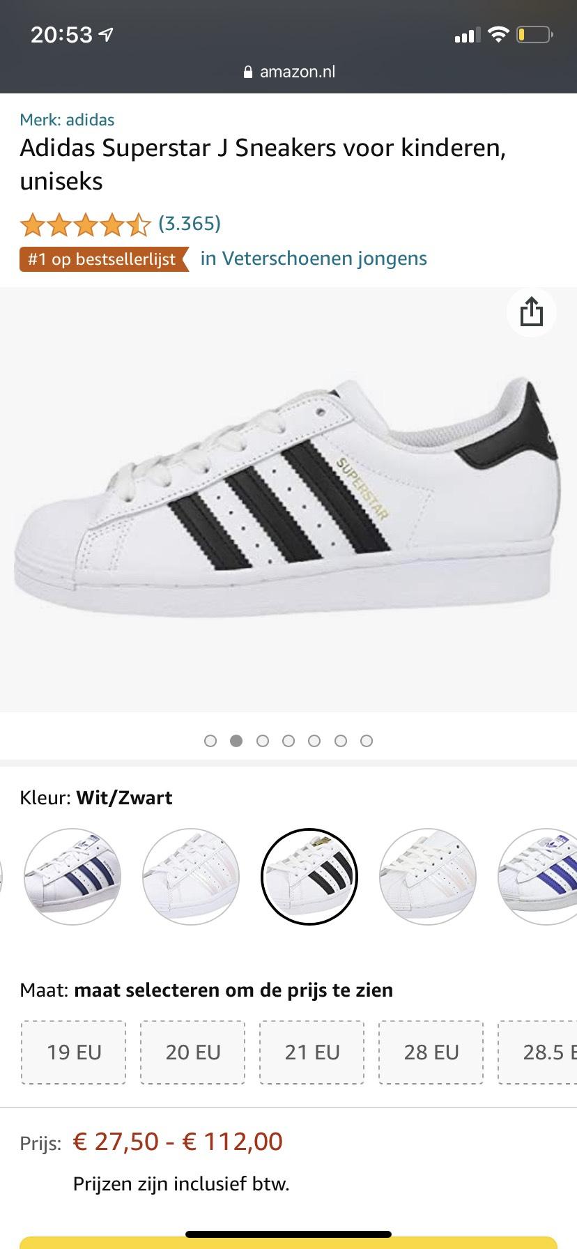 adidas Originals: Superstar J Unisex sneakers - maat 35 t/m 38