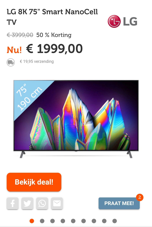 LG 75NANO996NA Zwart, 75 inch 8K tv