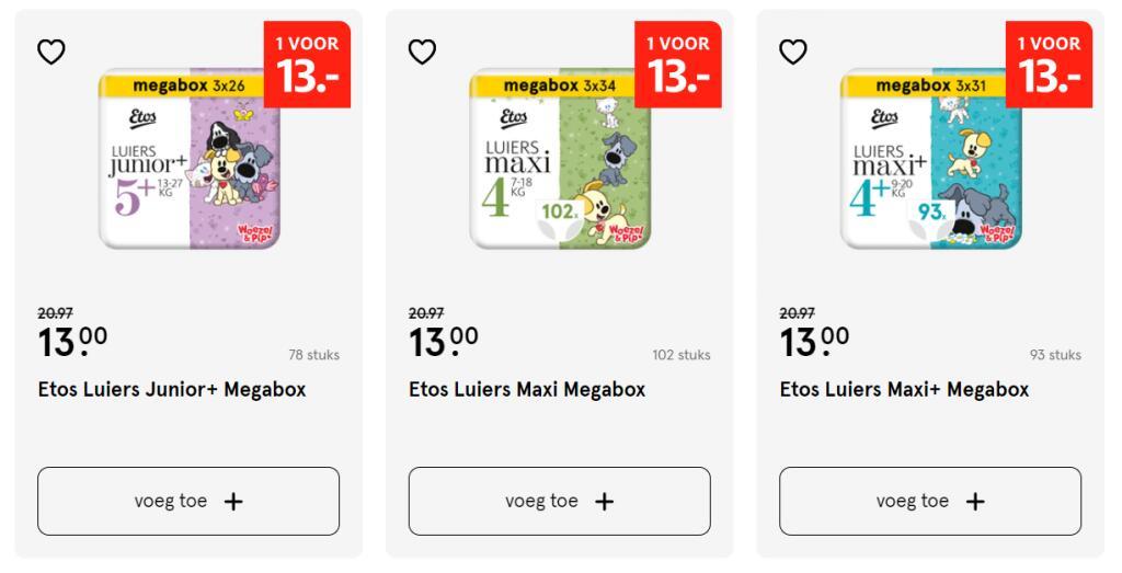 Etos Woezel & Pip luiers megabox met daarin 3 pakken voor €13