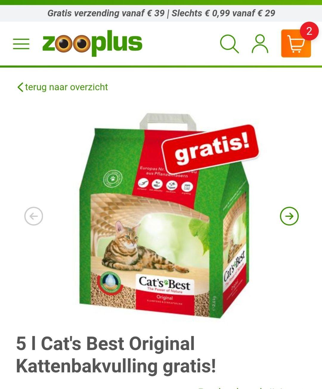 Gratis 5 liter kattenbakvulling Cat's Best Original bij je bestelling @ Zooplus