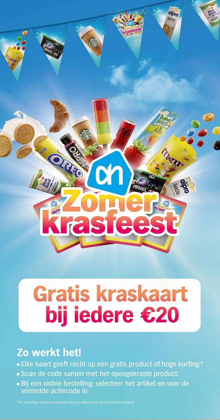 Kraskaarten met gratis producten bij iedere €20 @ Albert Heijn