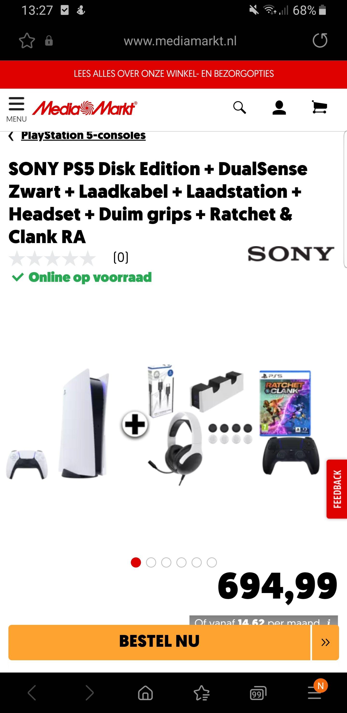 Playstation 5 met ratchet en clank + black controller