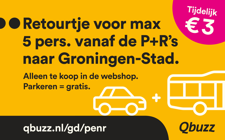 50% korting op P+R e-ticket (5 personen & gratis parkeren) in Groningen Stad