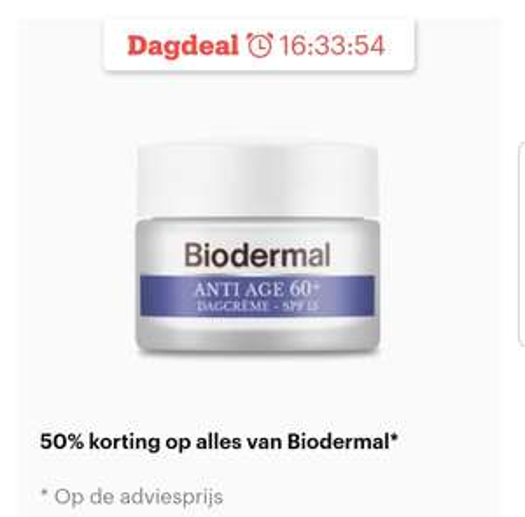 Dagdeal biodermal 50% korting
