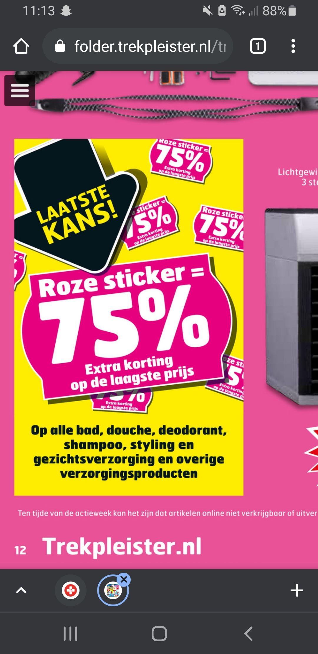75% korting op verzorging met roze sticker @trekpleister