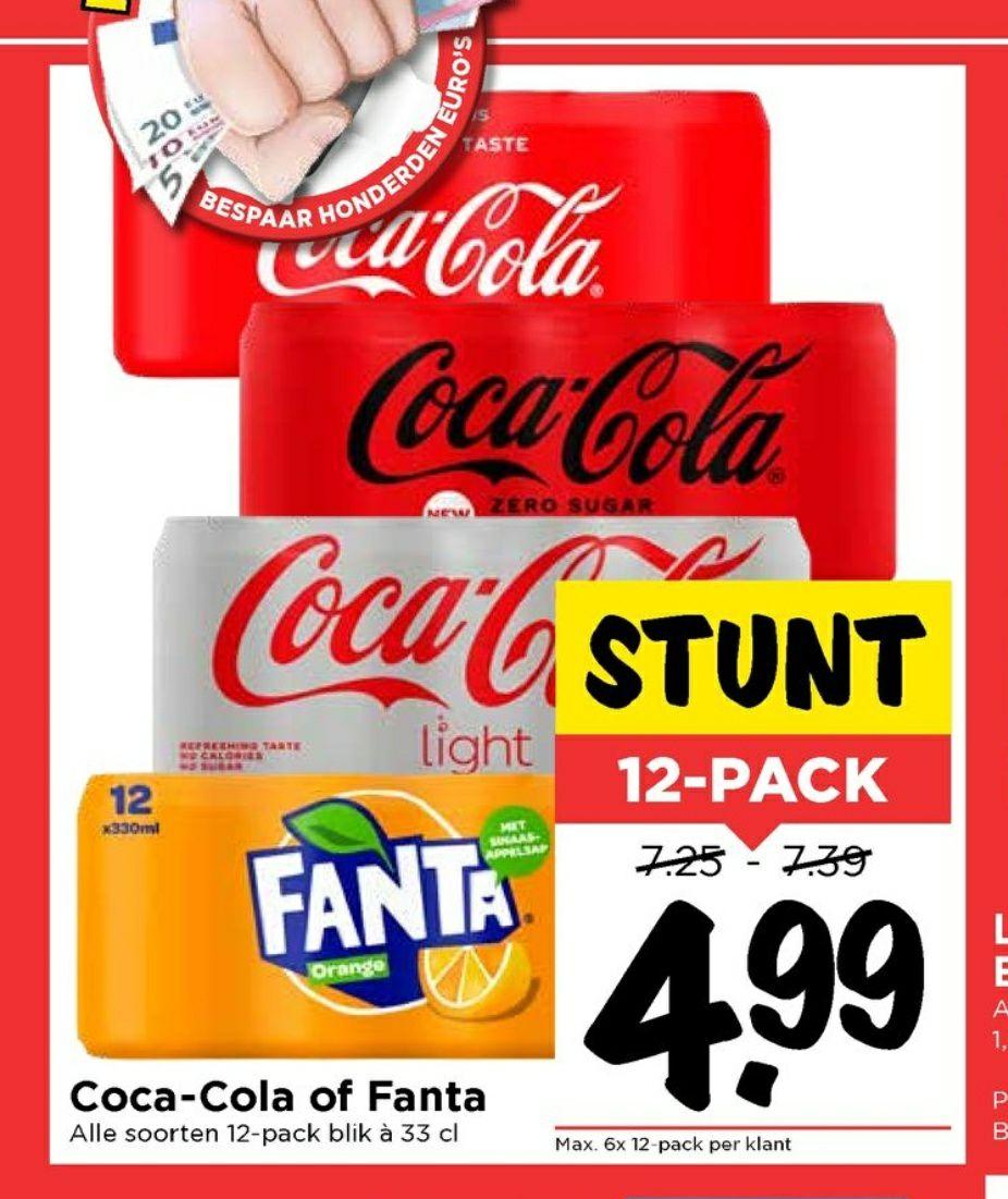 Vomar: €4,99 voor 12 blikjes Coca Cola
