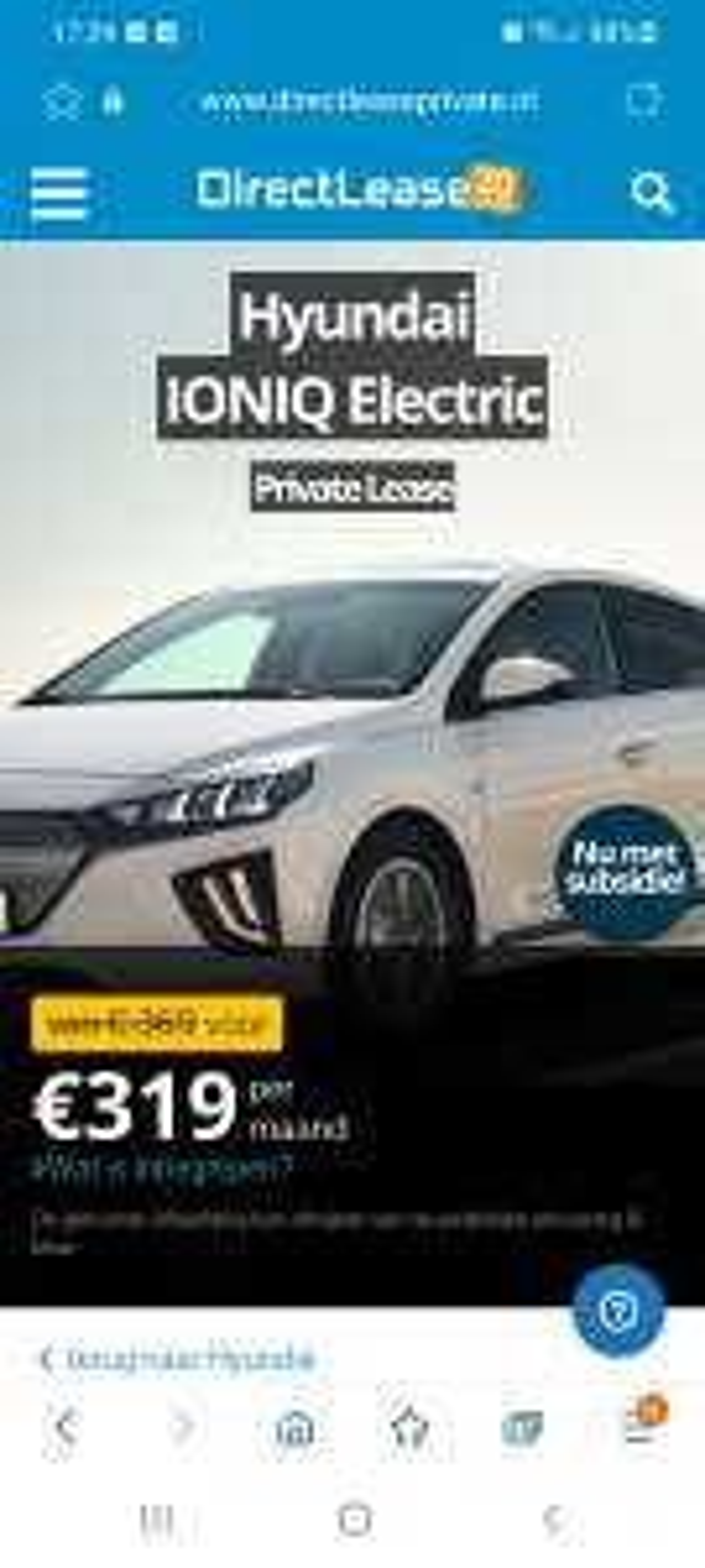 Private lease Hyundai Ioniq Electric 319 euro