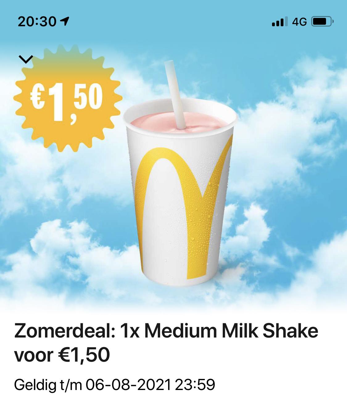 Medium Milkshake voor €1,50 @McDonalds