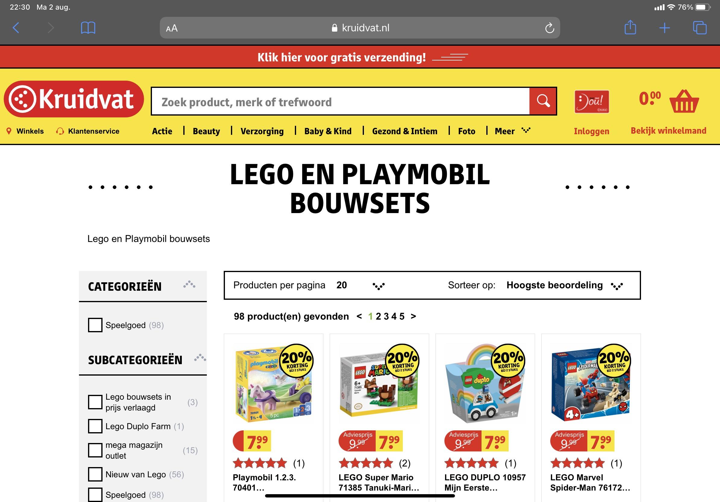 Lego en playmobil 20 procent korting bij 2 stuks bij Kruidvat