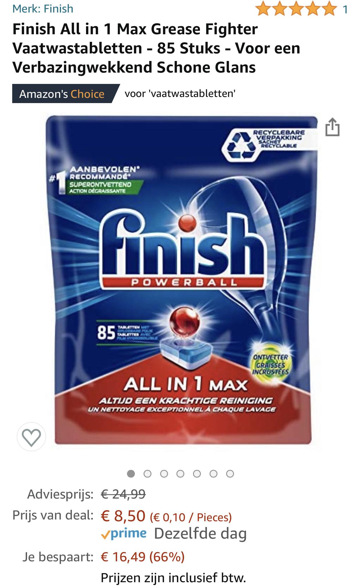 Finish All in 1 max vaatwastabletten
