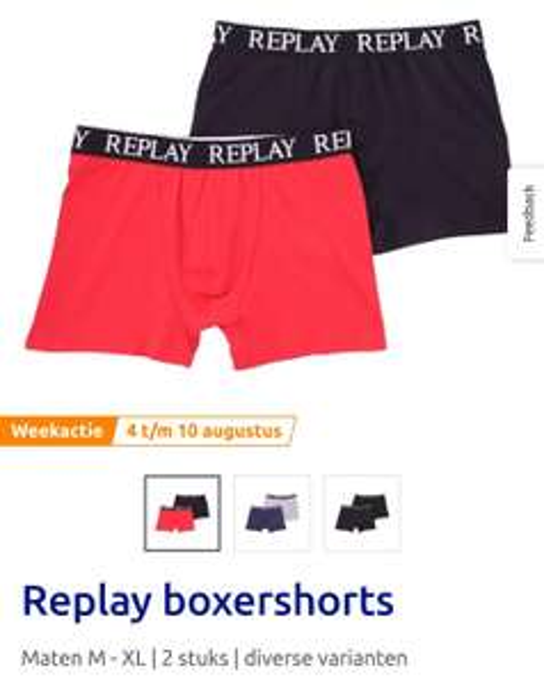 Action weekaanbieding Replay boxershorts 2 pack 9.98