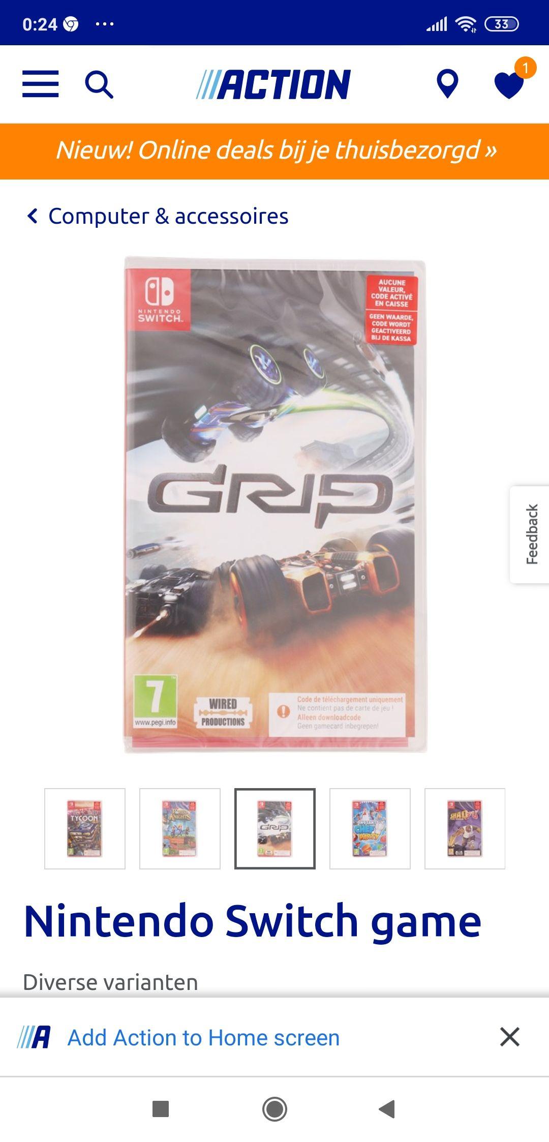 Switch games bij action, oa Portal knights en Grip