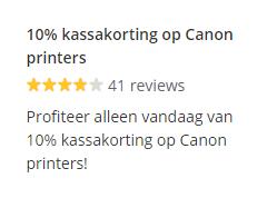 Vandaag 10% extra kassakorting op Canon printers @ Bol.com
