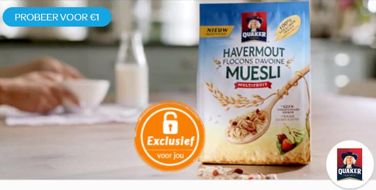 Probeer Quaker Havermout Muesli Multifruit voor € 1 @ Scoupy Exclusief