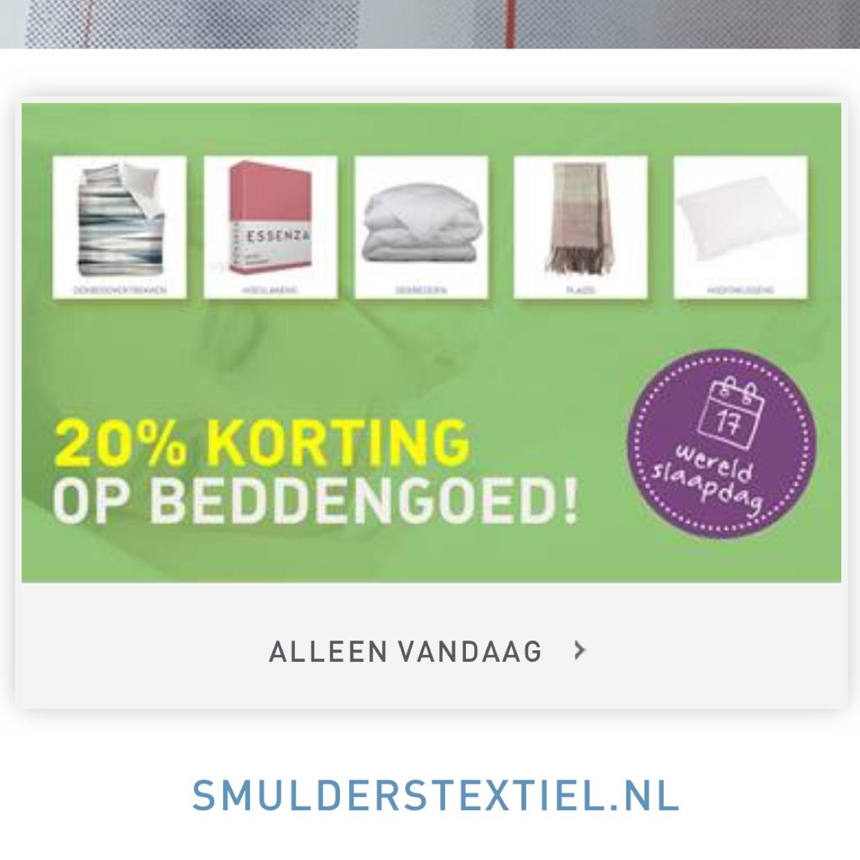 20% korting bij Smulders textiel op beddengoed