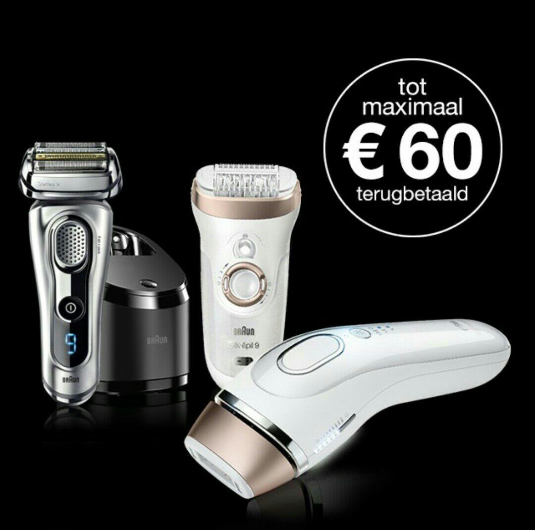 Tot €60,- cashback op een Braun shaver, epilator of IPL @ Braun