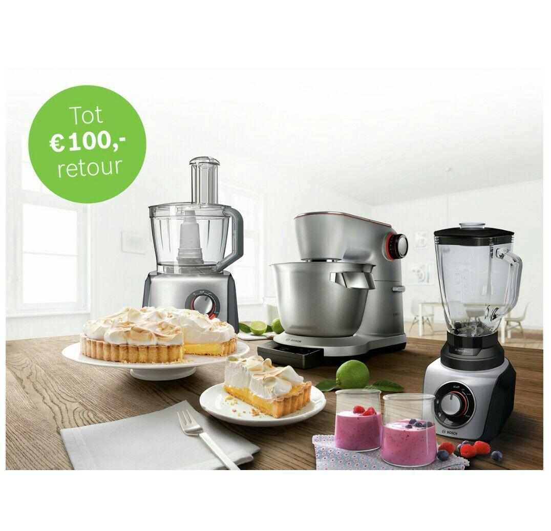 €20,- tot €100,- retour op Bosch keukenmachines, foodprocessors & blenders @ bosch-home.nl