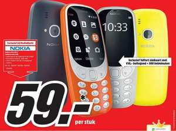 Nokia 3310 (2017) voor €59 incl Telfort simkaart met 10,- beltegoed + 300 belminuten @ Mediamarkt