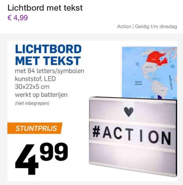 Lichtbord met tekst voor €4,99 (Action)
