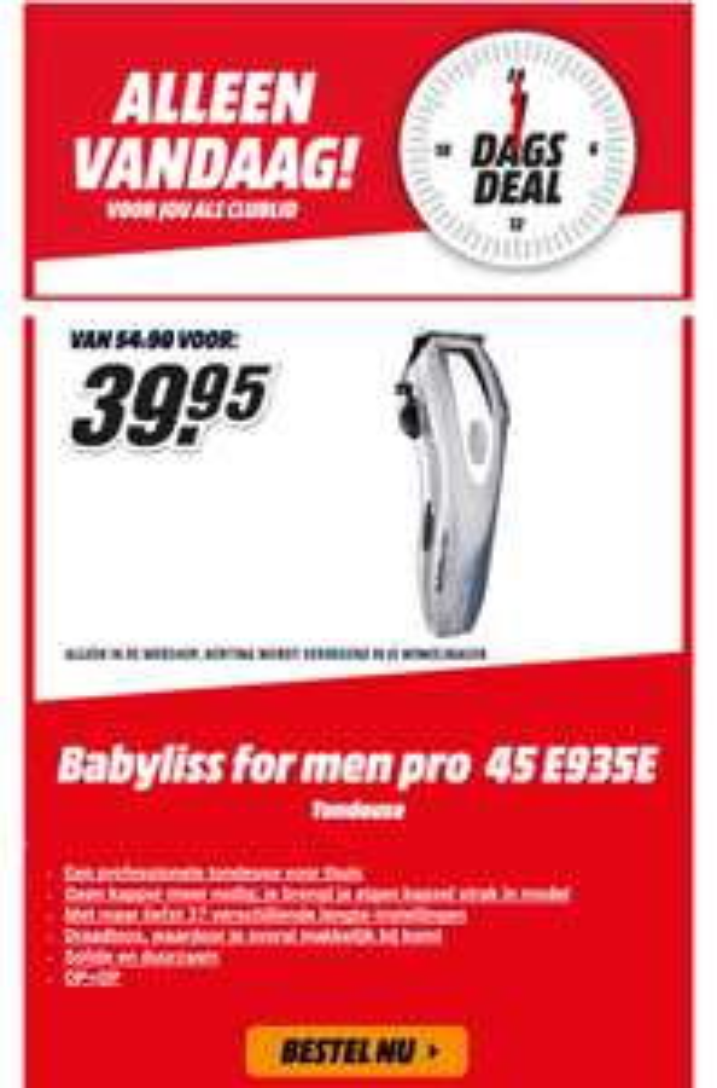 Alleen vandaag: Babyliss PRO 45 E935E tondeus voor €39,95 @ Mediamarkt
