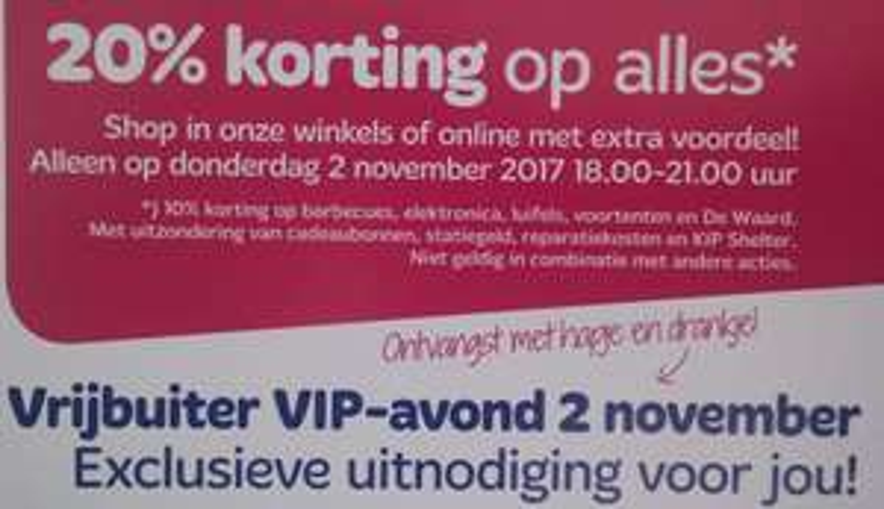Vrijbuiter 20% korting op ALLES* Donderdag 2-11-2017 18:00-21:00 VIP Avond