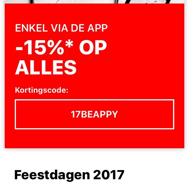 15% korting op alles @ Zalando App