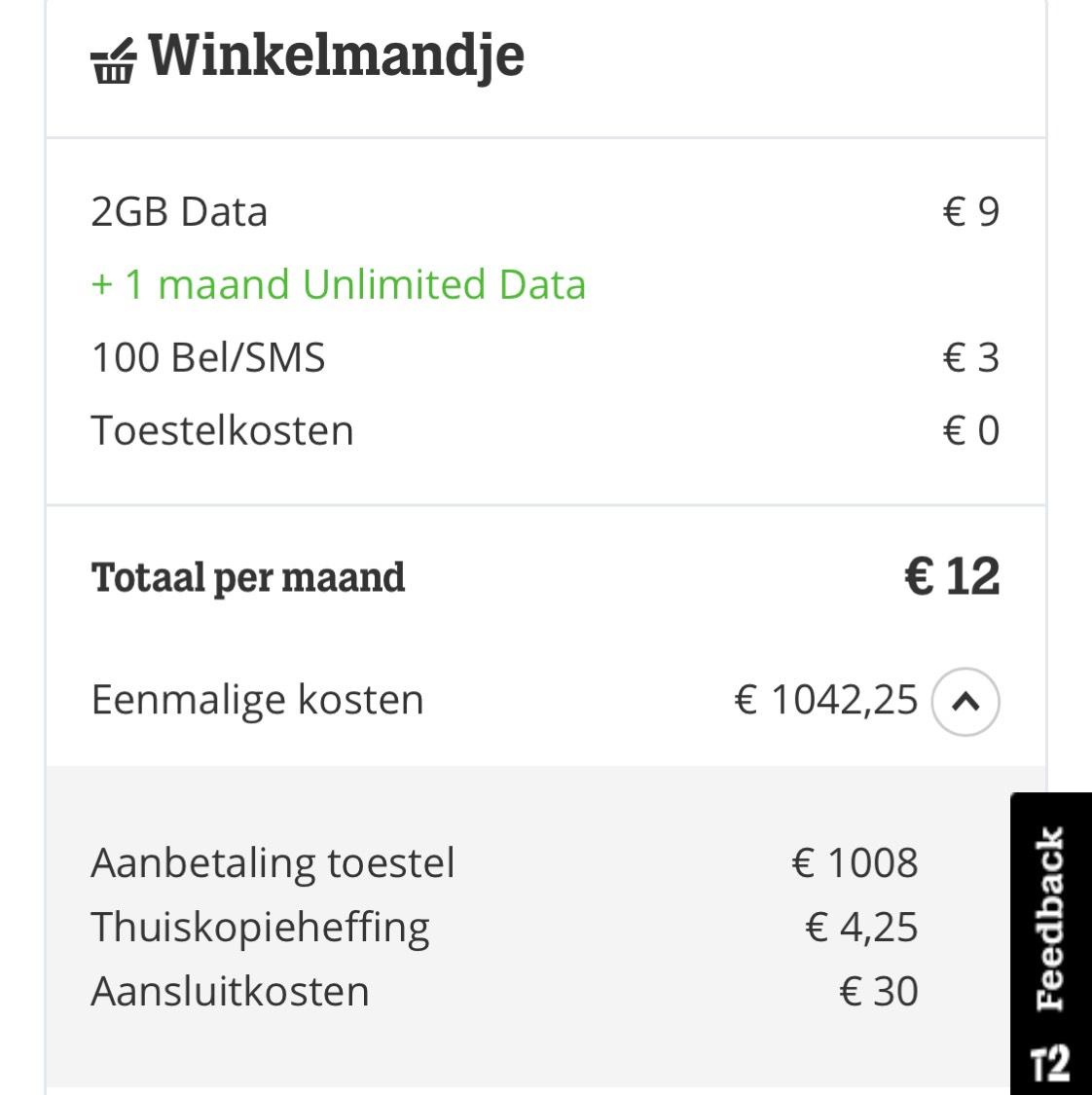 Apple iPhone X   €1054,25 met 1 maand 2GB Data en 100 sms/belminuten   Tele 2