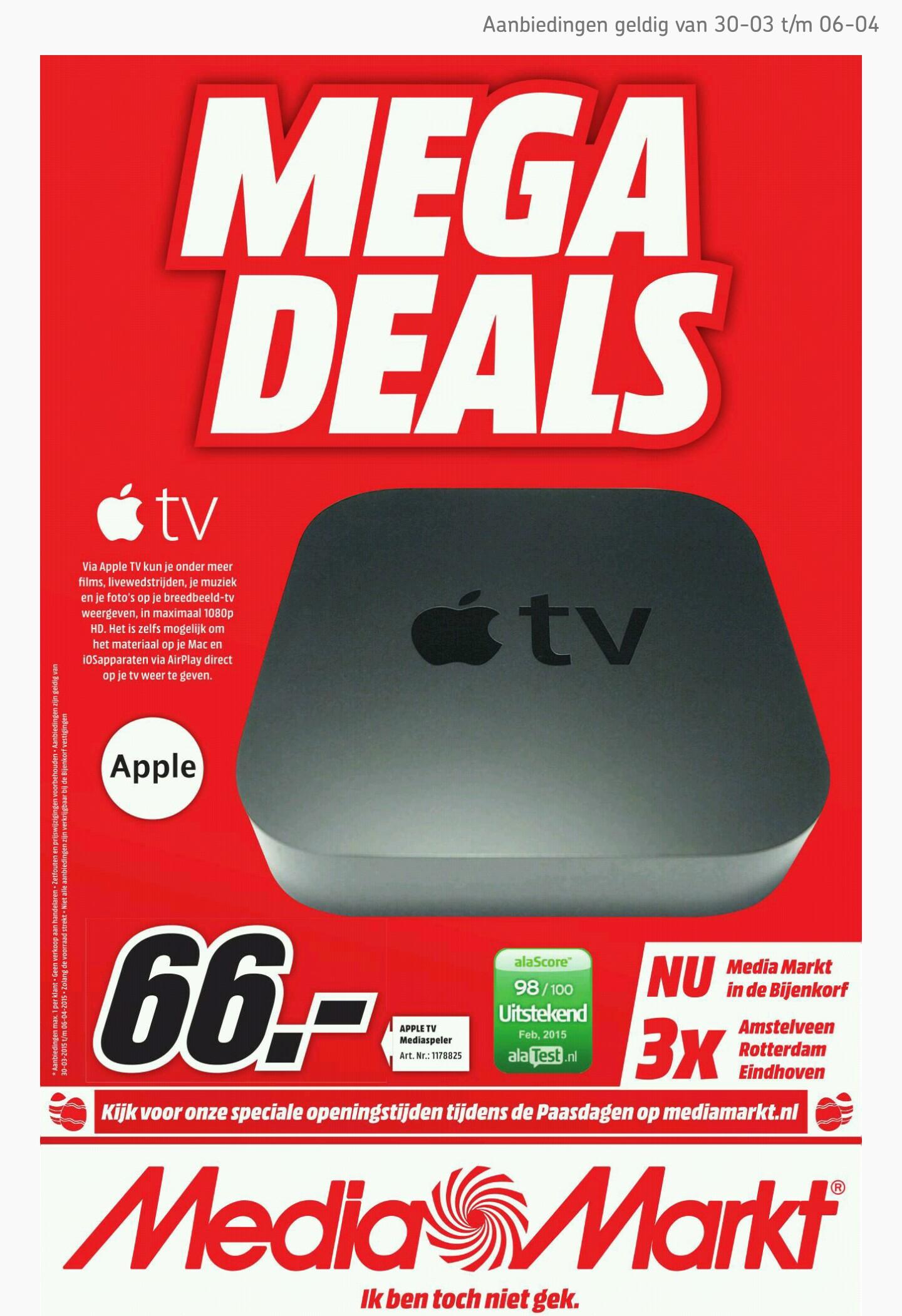 Apple TV (3rd generation) voor €66,- @ Media Markt