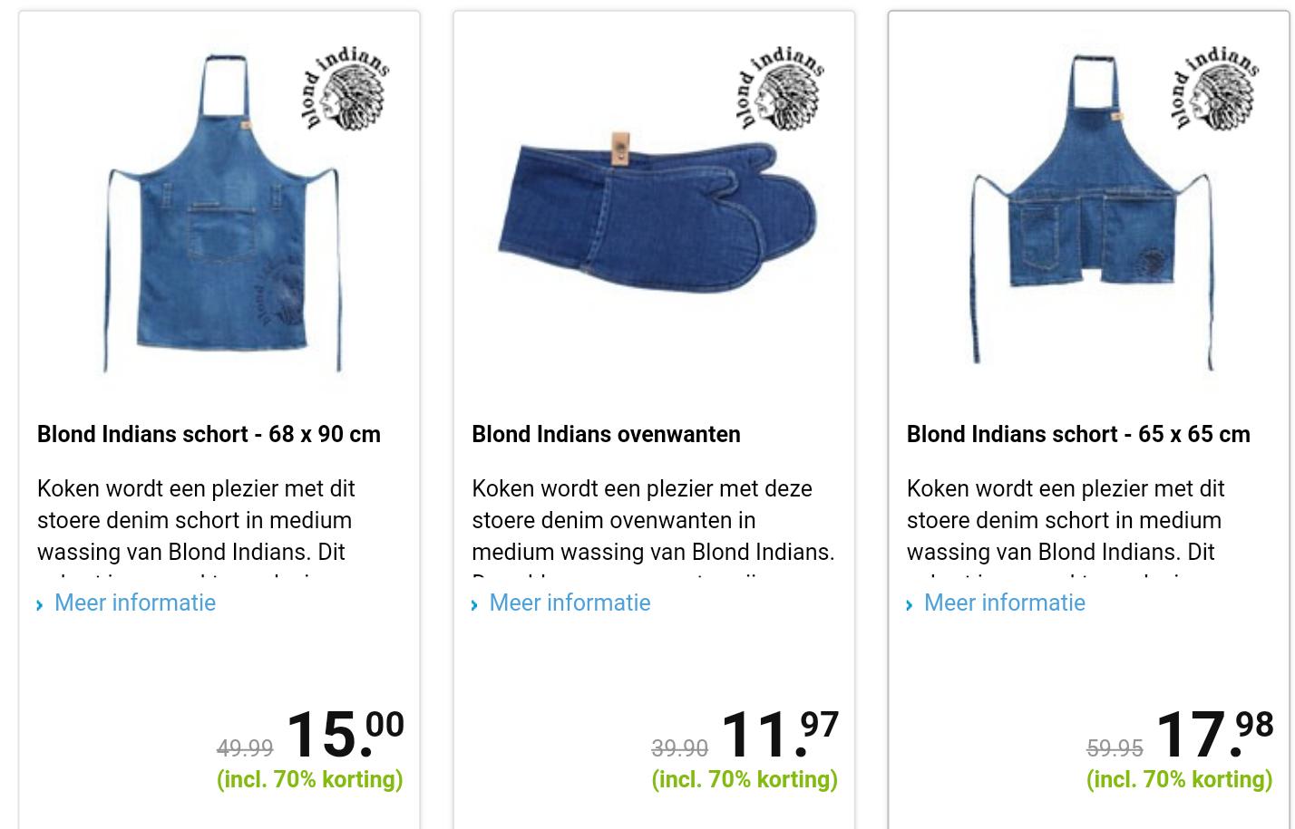 Blond Indiaas, 70% korting op artikelen van stoere denim in medium wassing.