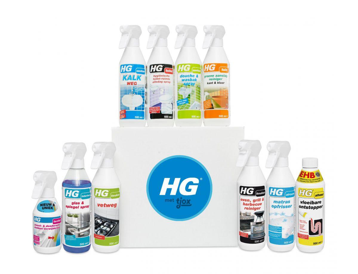 10 HG-producten (elk 500 ml) met een totale waarde van €41,95, nú voor de bodemprijs van €24,95!