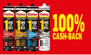 100% cash-back op Pattex One for ALL koker