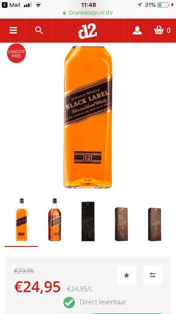 Johnie Walker Black Label aanbieding 1 Liter