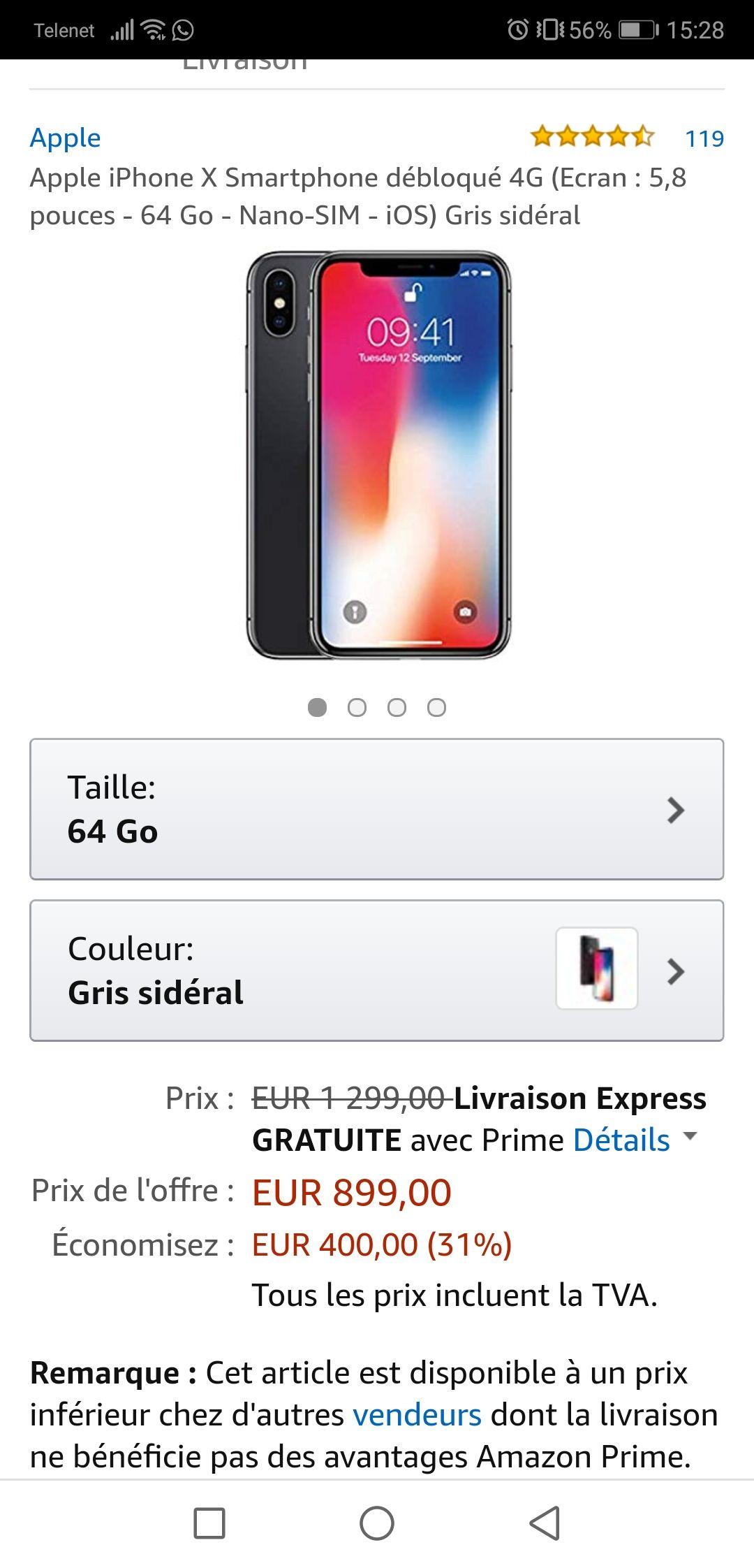 iPhone X -10% Amazon.fr (PRIME)