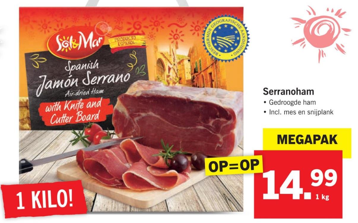 Lidl: Serrano ham (1 kilo) met mes en snijplank (€14,99)