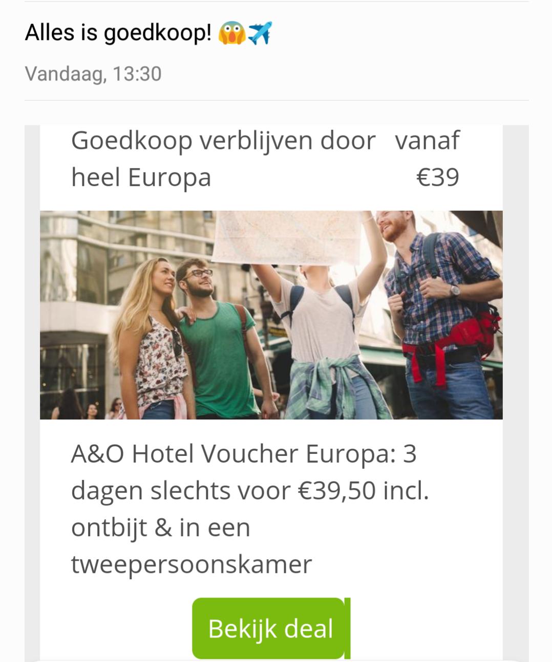 A&O Hotel Voucher Europa: 3 dagen slechts voor €39,50 in een tweepersoonskamer Inclusief ontbijt!