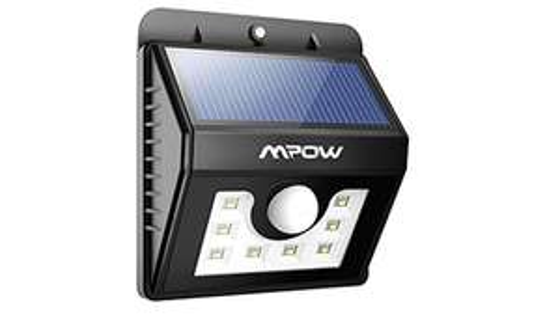 Mpow Solar-wandlamp, met 8 leds, brede lichtbundel