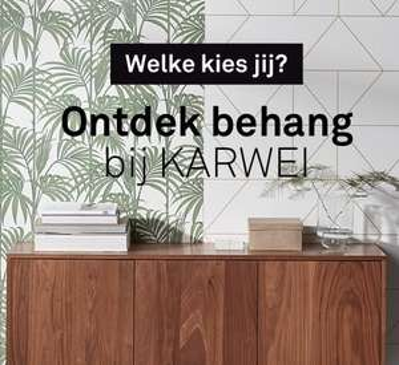 50% korting op uitgaand assortiment behang Karwei