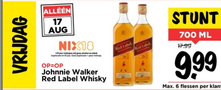 Johnnie Walker Red label whisky voor 10 euro