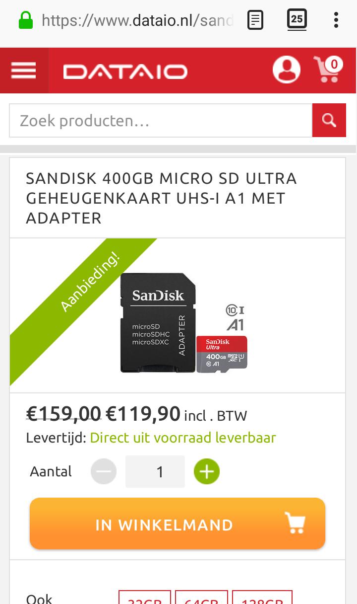 SanDisk 400GB micro SD ULTRA geheugenkaart UHS-I A1 met adapter,256gb nu voor €67.90