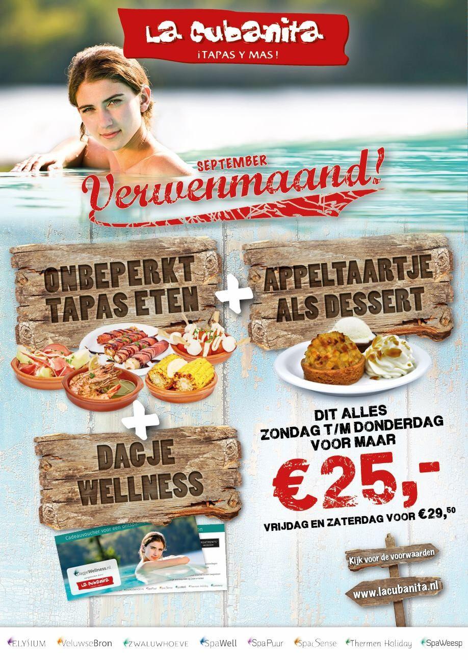 Voor 25 euro onbeperkt tapas, appeltaart als dessert, en 1 dag welness (La cubanita)