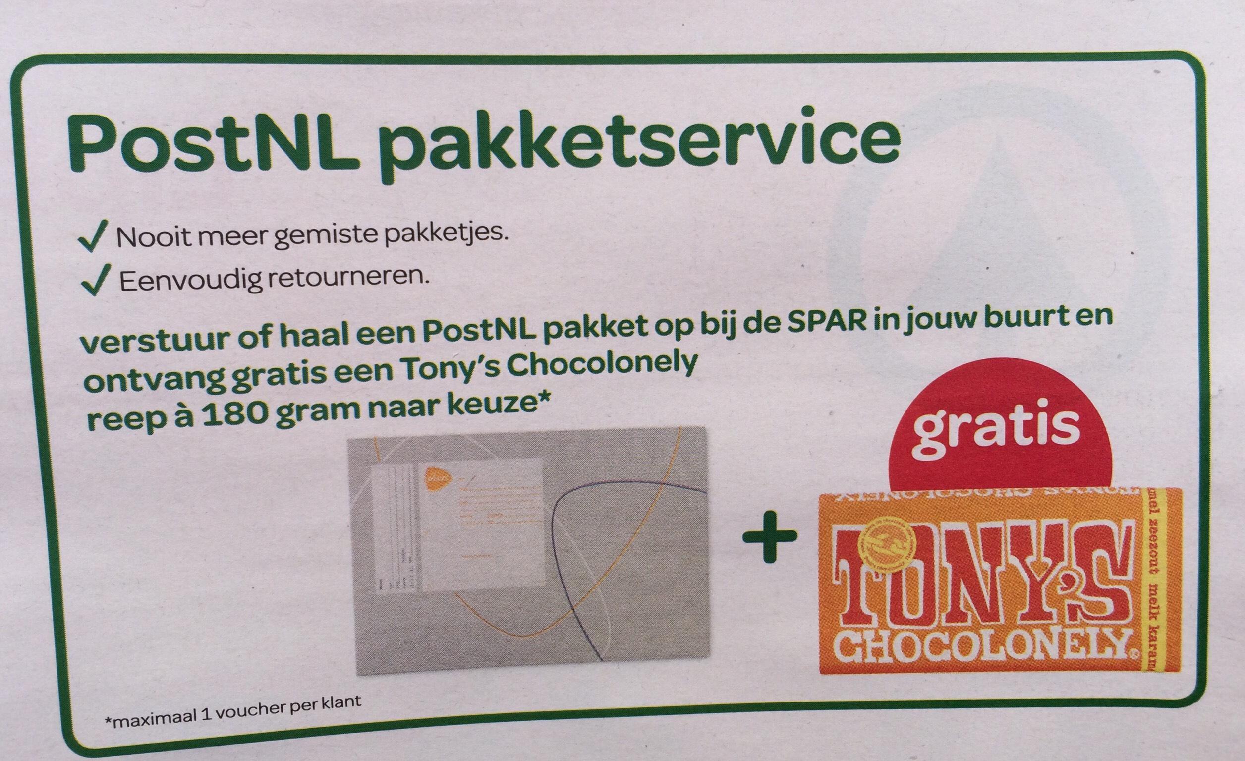 Gratis Tony's Chocolonely bij Spar supermarkt