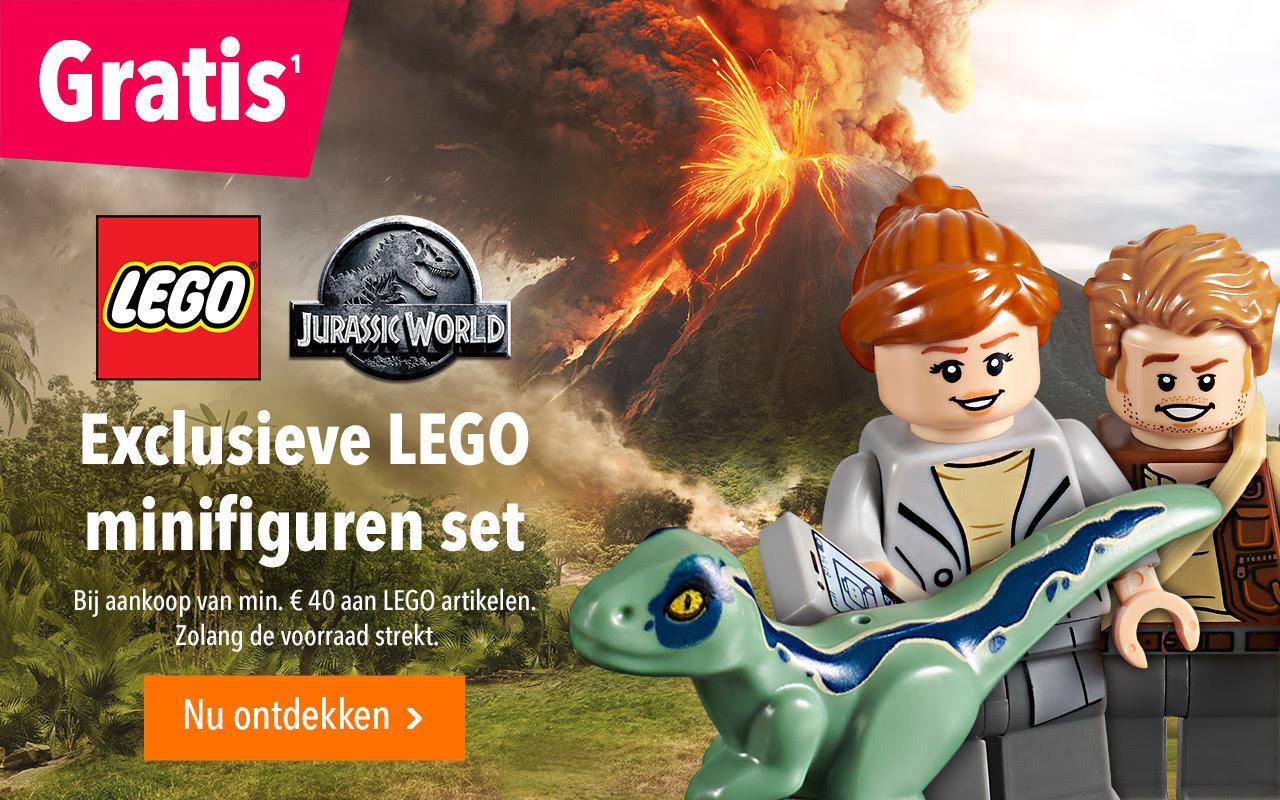 """Gratis exclusieve LEGO Jurassic World minifiguren set bij aankoop van min. €40 aan LEGO @ Toys""""R""""Us"""