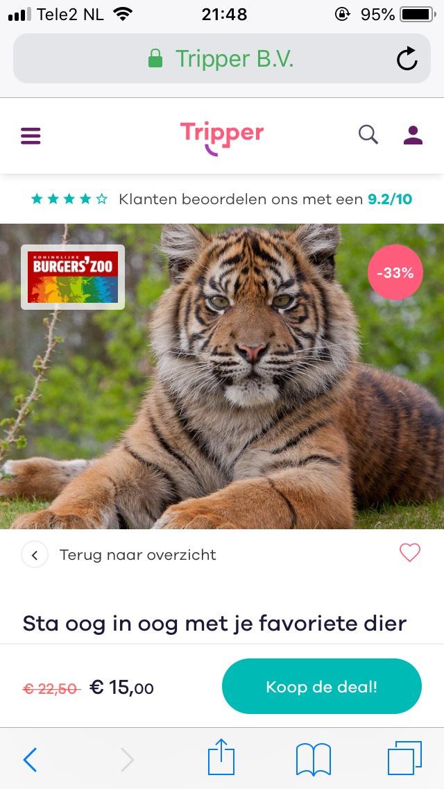 Entree Burgerszoo nu €15,00 geldig tm 30 maart 2019