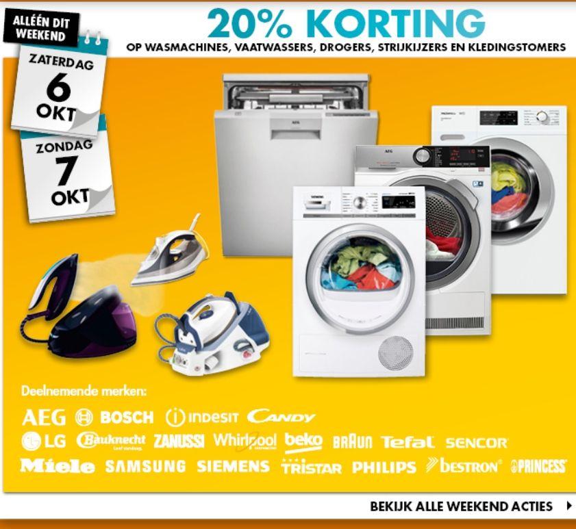20 procent korting op wasmachine vaatwasser droger strijkijzer en kledingstomer zaterdag en zondag
