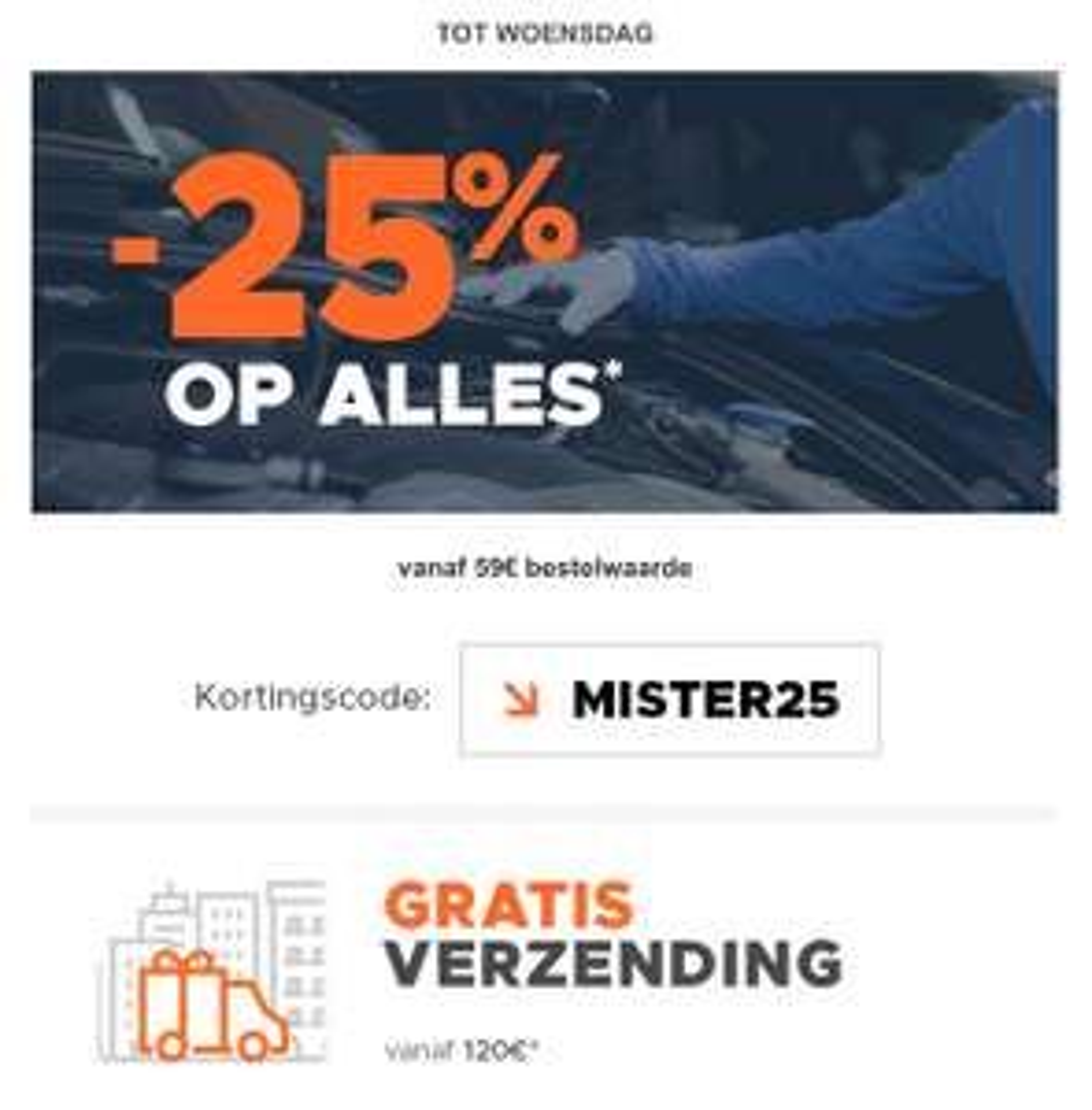 25% korting op auto onderdelen