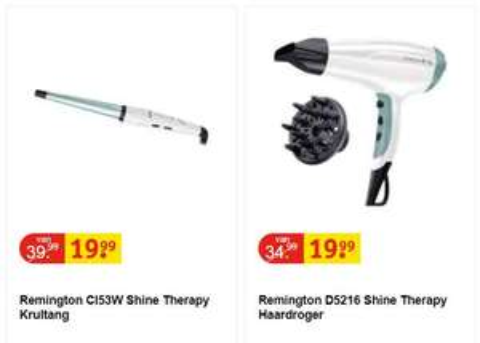 Remington Shine Therapy haardroger // krultang €19,99 @ Kruidvat