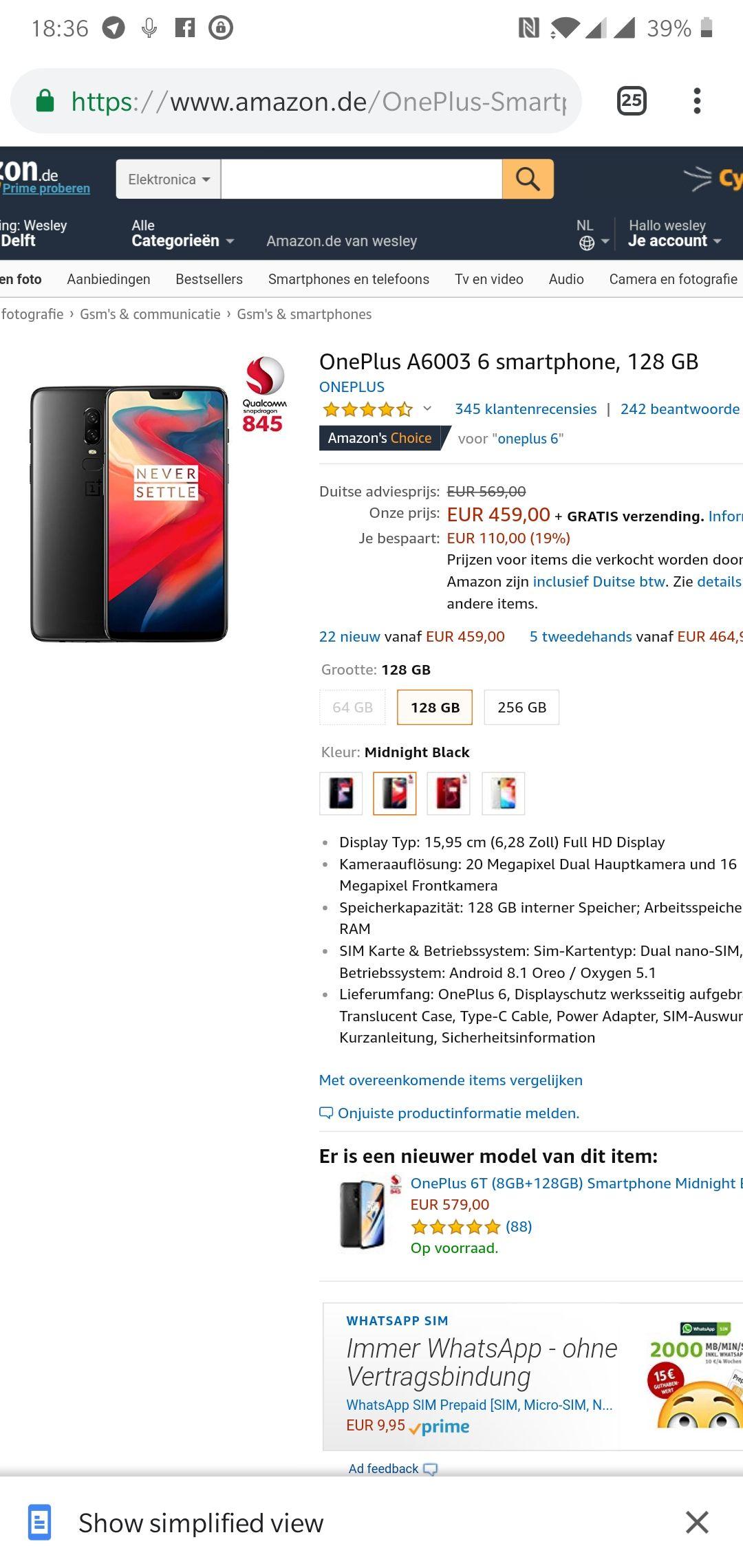 OnePlus 6 128GB 459 bij Amazon.de