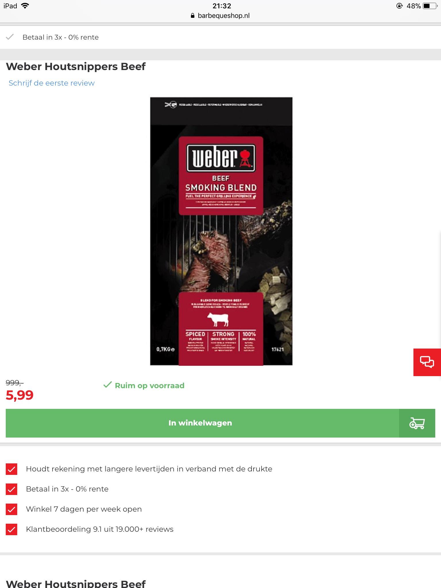 Weber rooksnippers van €999 voor €5,99